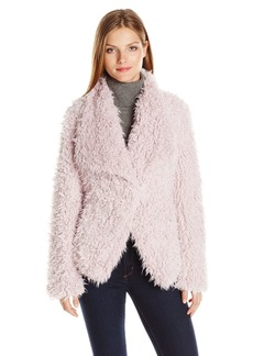 Betsey Johnson Women's Curly Lamb Faux Fur Lightweight Coat  L