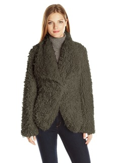 Betsey Johnson Women's Curly Lamb Faux Fur Lightweight Coat  L