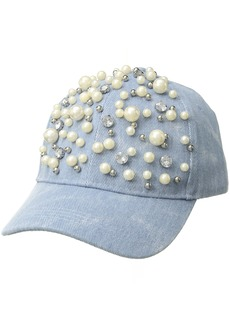 Betsey Johnson Women's Denim with Pearls Baseball Hat  one Size