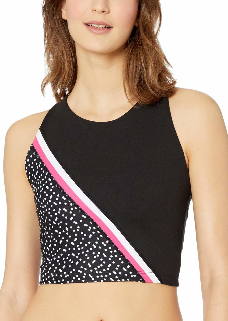 Betsey Johnson Women's Diagonal Colorblock Extended Bra -Black/Passion Extra Large