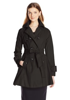 Betsey Johnson Women's Double Breasted Trench Coat with Piping and Corset Back