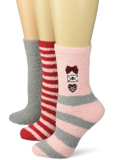Betsey Johnson Women's Embroidered Bow Heart Cozy Crew Socks 3 Pack