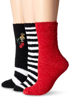 Betsey Johnson Women's Embroidered Cozy Crew Socks 3 Pack