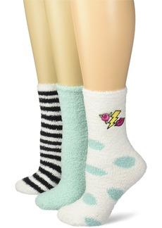Betsey Johnson Women's Embroidered Rose Lips Cozy Crew Socks 3 Pack