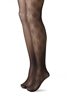 Betsey Johnson Women's Fashion Tights In Double Diamond Pattern and Solid Black   (Pack of 2)