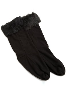 Betsey Johnson Women's Faux Fur Cuff Calf Length Boot Liner Socks