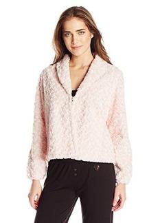 Betsey Johnson Women's Faux Fur Fleece Lined Cropped Jacket