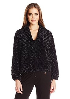 Betsey Johnson Women's Faux Fur Fleece Lined Cropped Jacket