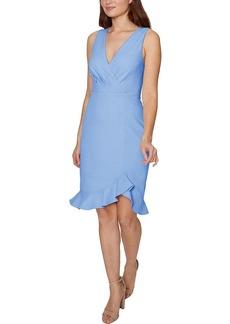 Betsey Johnson Women's Faux Wrap Top Scuba Crepe Midi Dress with Flounce