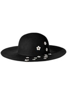Betsey Johnson Women's Felt Floppy Hat with Daisy Applique