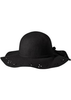 Betsey Johnson Women's Felt Floppy Hat with Floral Cut Out Brim