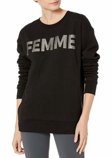 Betsey Johnson Women's Femme Glitter Boyfriend Sweatshirt  Extra Small