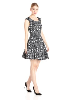 Betsey Johnson Women's Fitted Bodice A-Line Jacquard Dress