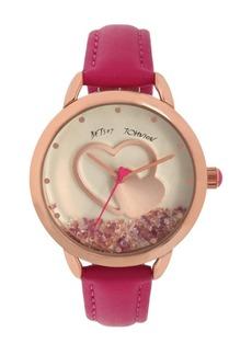 Betsey Johnson Women's Floating Stones Pink Polyurethane Strap Watch 40mm