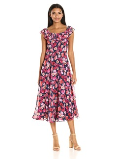 Betsey Johnson Women's Floral Chiffon Off the Shoulder Tea Length Dress
