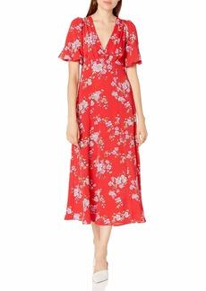Betsey Johnson Women's Floral Puff Sleeve Midi Shirt Dress