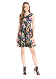 Betsey Johnson Women's Floral Scuba Fit-and-Flare Dress