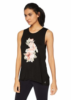 Betsey Johnson Women's FLORAL STAY WILD HI-LOW MUSCLE TANK    MEDIUM