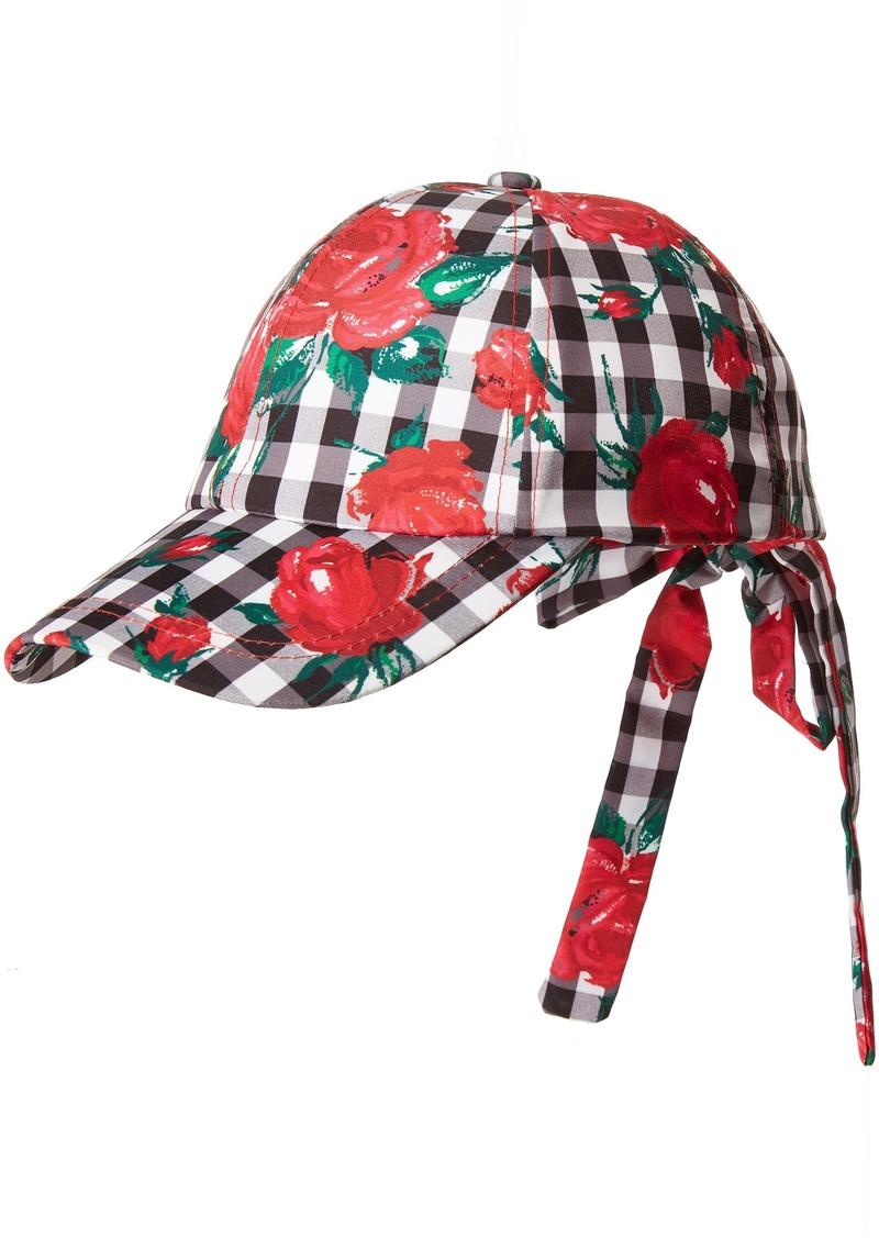 Betsey Johnson Women's Gingham Rose Baseball Hat  one Size