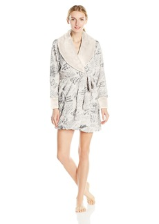 Betsey Johnson Women's Glamour Printed Faux Fur Robe