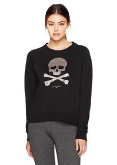 Betsey Johnson Women's Glitter Skull Fleece Pullover  XL
