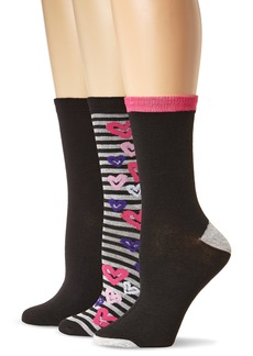 Betsey Johnson Women's Hearts and Stripes Crew Socks 3-pack