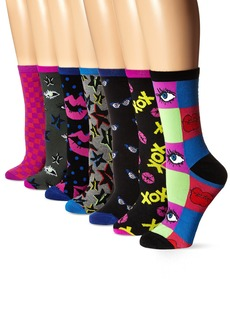 Betsey Johnson Women's Here's To Looking at You Crew Socks Gift Box 7-Pack
