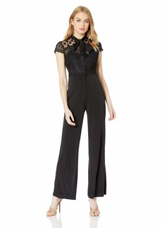 Betsey Johnson Women's Jumpsuit with Lace Bodice and Necktie