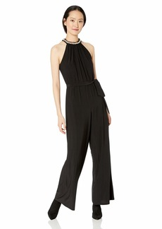 Betsey Johnson Women's Jumpsuit with Pearl Neckline