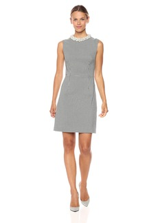 Betsey Johnson Women's Knit Sheath with Pearl Collar Dress