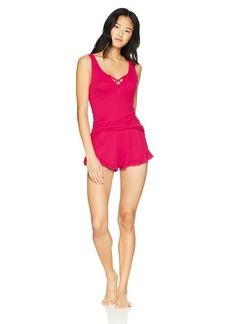 Betsey Johnson Women's Knit Short Pajama Set red L