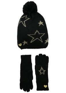 Betsey Johnson Women's Knit Star Struck Print Beanie with Glove Set