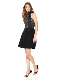 Betsey Johnson Women's Lace Bodice Scuba Crepe Dress