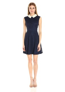 Betsey Johnson Women's Lace Pearl Collar Fit and Flare Dress