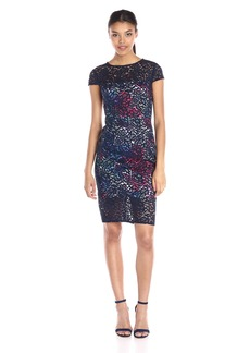 Betsey Johnson Women's Lace/ Transparent Scuba Floral Midi Dress