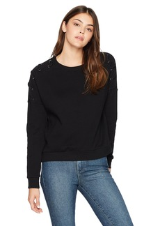 Betsey Johnson Women's Lace-up Sleeve Pullover Sweatshirt  M