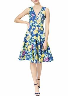 Betsey Johnson Women's Lemon Fit and Flare Dress