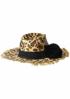 Betsey Johnson Women's Leopard Print Panama Hat
