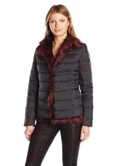 Betsey Johnson Women's Light Weight Puffer Coat to Faux Fur Reversible Jkt  S