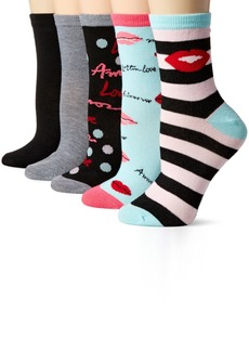 Betsey Johnson Women's Lips Patterned Crew Socks 5 Pack
