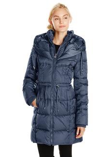 Betsey Johnson Women's Long Puffer Coat with Cinch Waist  mall
