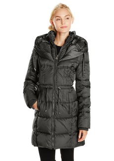 Betsey Johnson Women's Long Puffer Coat with Cinch Waist
