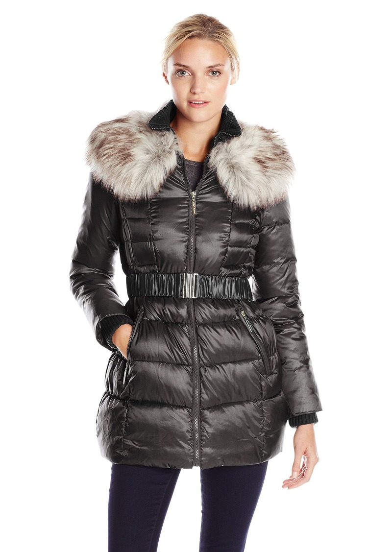 Betsey Johnson Women's Long Puffer Coat with Faux Fur and Belt  mall