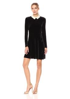 Betsey Johnson Women's Long Sleeve Velvet Pearl Dress