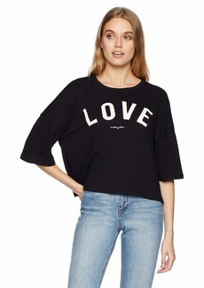 Betsey Johnson Women's LOVE DISTRESSED BOXY TEE