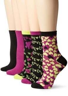 Betsey Johnson Women's Love Hearts Patterned Crew Socks 5 Pack
