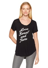 Betsey Johnson Women's Love Sweat and Tears Roll Hem Tee  XS