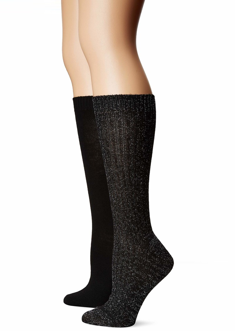 Betsey Johnson Women's Lurex Slouchy Boot Sock BJ42024 black