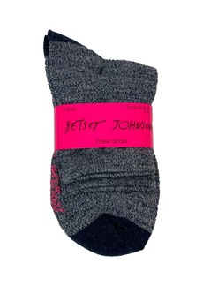 Betsey Johnson Women's Marled Solid Crew Sock, 6 Pack