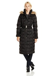 Betsey Johnson Women's Maxi Puffer Coat with Hood and Belt  mall